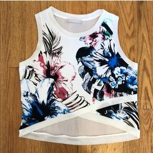 Zara floral top with mesh back